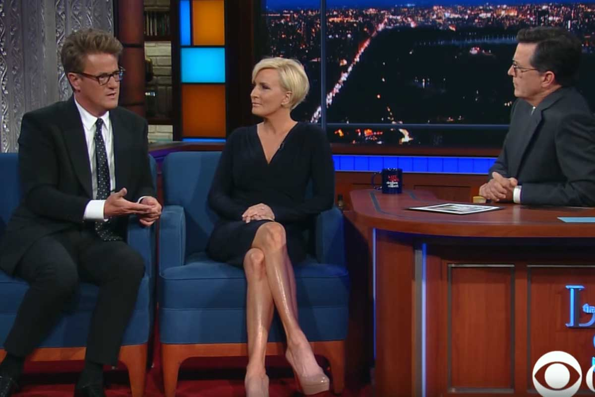 Joe Scarborough and Mika Brzezinski appear on Stephen Colbert´s late-night show.
