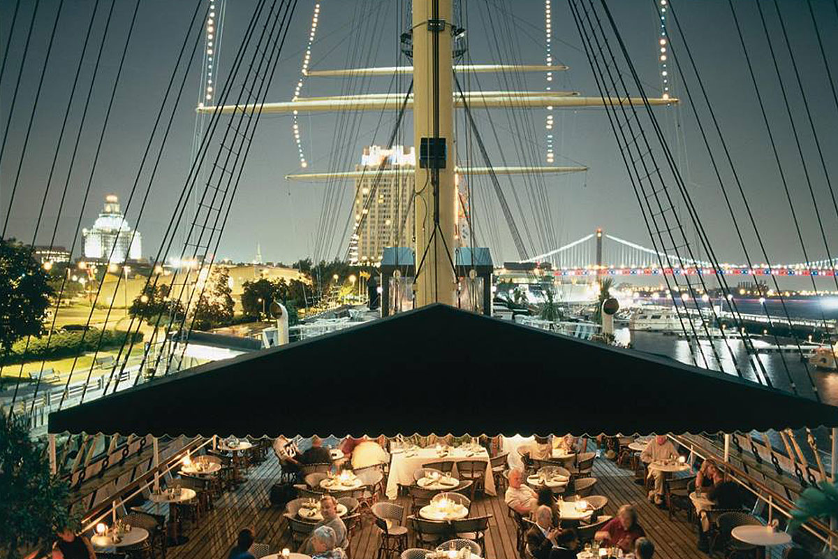 The deck of the Moshulu at Penn's Landing offers views of both Center City Philadelphia and Camden.