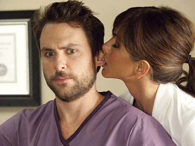 "Charlie Day and Jennifer Aniston in ""Horrible Bosses."""