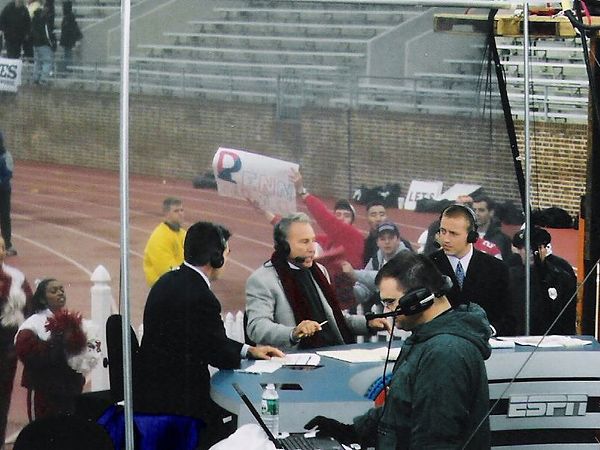 The ESPN College GameDay crew of (from left to right) Chris Fowler, Lee Corso and Kirk Herbstreit at Franklin Field back in 2002. They´d like to do another show from an Ivy League venue some day. (Jonathan Tannenwald/Philly.com file photo)