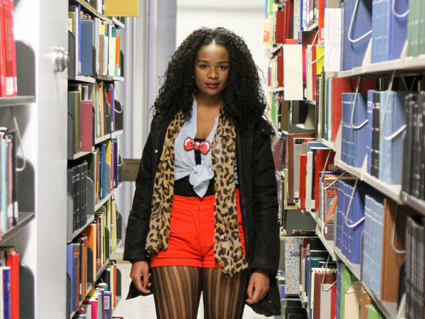 Ninqi Stratton in the library at Temple University in Philadelphia on Friday Dec. 6, 2013. (Stephanie Aaronson/Philly.com)