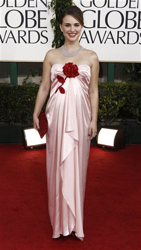 Natalie Portman arrives for the Golden Globe Awards Sunday, Jan. 16, 2011, in Beverly Hills, Calif. (AP Photo/Matt Sayles)