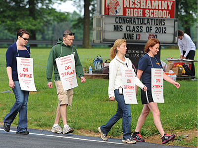 File photo: Neshaminy School District teachers walked the picket line in front of Neshaminy High School. (CLEM MURRAY / Staff Photographer)