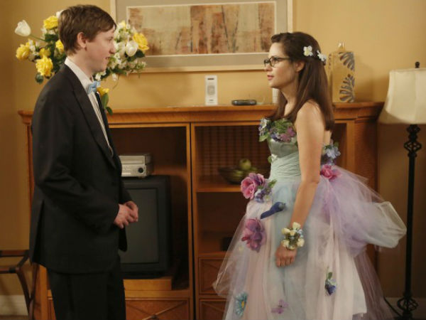 "Jess (Zooey Deschanel, right, with guest star Johnny Pemberton) flashes back to her prom night on ""New Girl"""