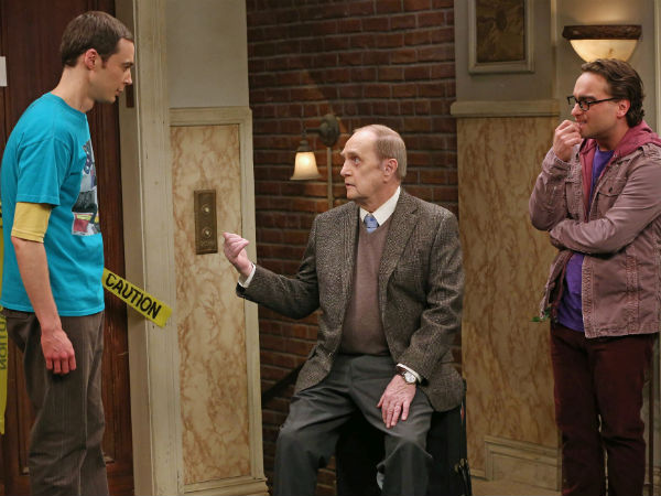 "Bob Newhart (center) with Jim Parsons (left) and Johnny Galecki of ""The Big Bang Theory"""