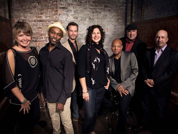 """The Newport Jazz Festival: Now 60"" at the Merriam Theater: (from left) Karrin Allyson, Clarence Penn, Larry Grenadier, Anat Cohen, Mark Whitfield, Randy Brecker, and Peter Martin. (Bassist Ben Allison, not Grenadier, will perform Sunday.)"