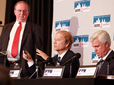 Lewis Katz is speaking during the press conference announcing purchasing PMN with William Hankowskiy (left) and George Norcross III (right) on April 2, 2012.
