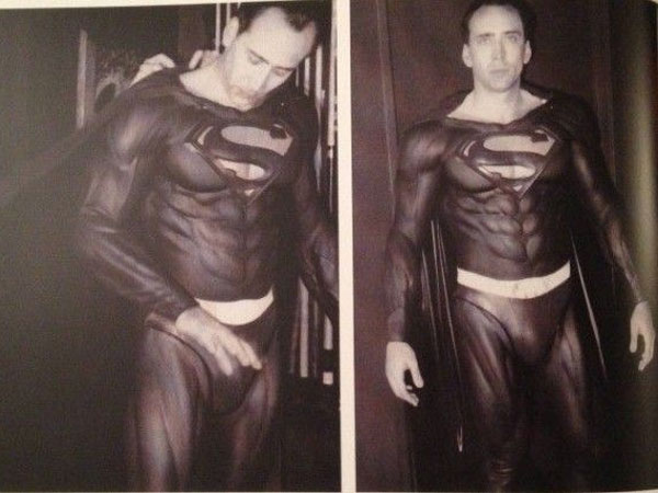 "Nicholas Cage models the Tim Burton version of Superman´s legendary suit. ""Mind-blowing""? You be the judge."