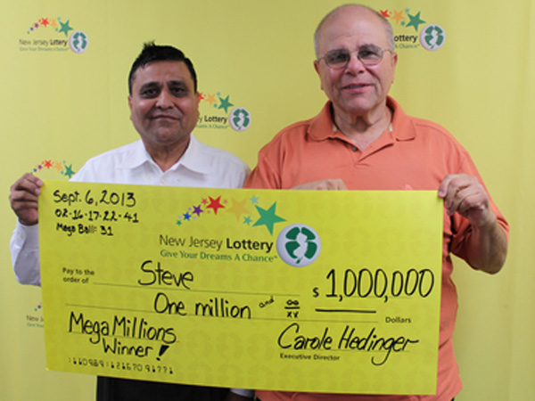 Steven Ontell (right) of Passiac, N.J., hit for $1 million in Mega Millions on Sept. 6, 2013, after also winning $250,000 and $40,000. With him is  Bharat Shah, the retailer who sold the ticket.