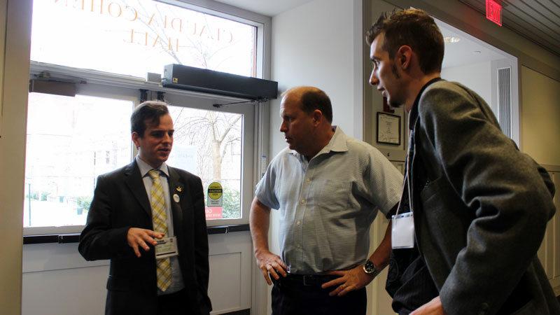 Joe Forte, State Sen. Daylin Leach and Erik Alteri discuss marijuana policy at Claudia Cohen Hall at the University of Pennsylvania on March 16, 2013.