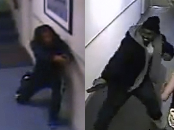 Police are looking for at least two suspects caught on camera March 31, 2014, engaging in a shoot-out in the hallways at the Roosevelt Motor Inn.