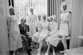 Nurse uniforms designed by Pierre Cardin