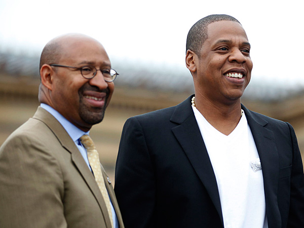 File photo: Jay-Z and Mayor Michael Nutter during a May 2012 press conference on the steps of the Philadelphia Museum of Art. (DAVID SWANSON / Staff Photographer)
