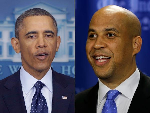 President Barack Obama supports Newark Mayor Cory Booker for NJ Senator in new video. (AP Photo/Charles Dharapak and Mel Evans)