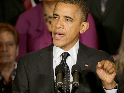 President Barack Obama speaks about the economy and the deficit in the East Room of the White House. (AP Photo/Pablo Martinez Monsivais)