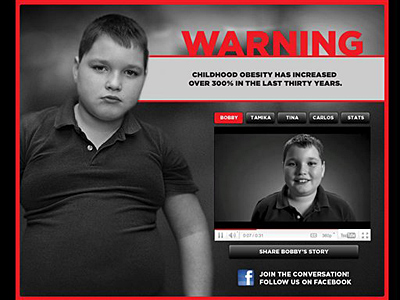 "This image shows a page from the website www.stopchildhoodobesity.com. The advertisement, part of a ""Stop Child Obesity"" campaign in Georgia, won some enthusiastic praise for its attention-grabbing tactics. But it also has outraged parents, activists and academics. (Associated Press)"