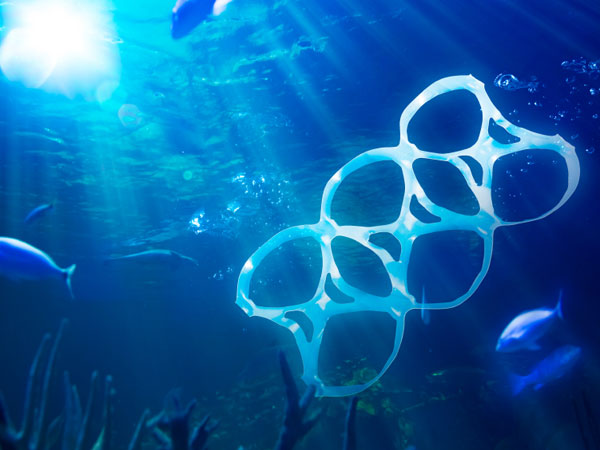 Trash floats in the Pacific Ocean.