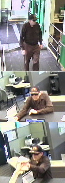 The FBI released these three security camera photos of the suspect in yesterday´s robbery of a Citizen´s Bank branch at 20th and Market streets.
