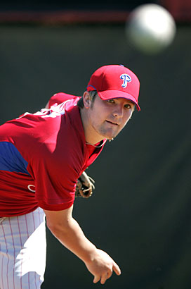 Kyle Drabek, shown here in spring training, has been promoted to the Reading Phillies.