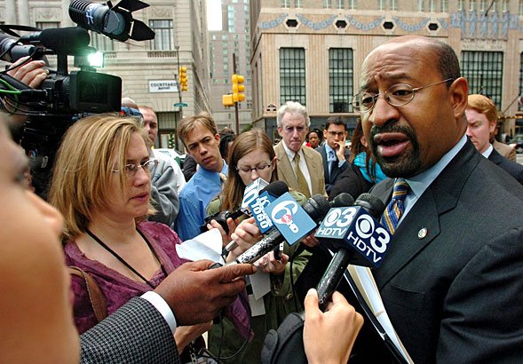 Philadelphia mayor Michael Nutter answers questions at a news conference outside City Hall just before his trip to Harrisburg, where he will lobby legislators to pass House Bill 1828, which gives Philadelphia the tools to deal with its budget crisis.