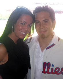 Stacey Kracher of Zarwin Baum DeVito with Ohno at the Phillies game.