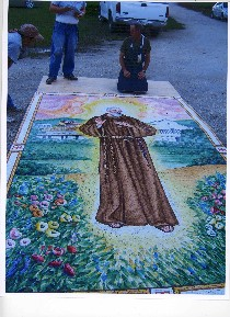Padre Pio mosaic, which was found in Olney.