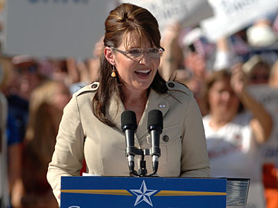 Republican vice presidential candidate, Alaska Gov., Sarah Palin, speaks during a rally in The Villages, Fla., on Sunday. (AP Photo/Phelan M. Ebenhack)<br /><br />