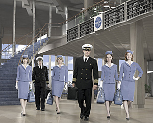 These Pan Am stewardess uniforms designed by Hollywood-based costume designer, Ane Crabtree are on historical point- girdles and all.