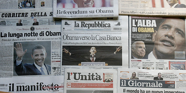A selection of front pages of Italian newspapers covering Barack Obamas victory in the U.S. Presidential election. (AP Photo / Alessandra Tarantino)