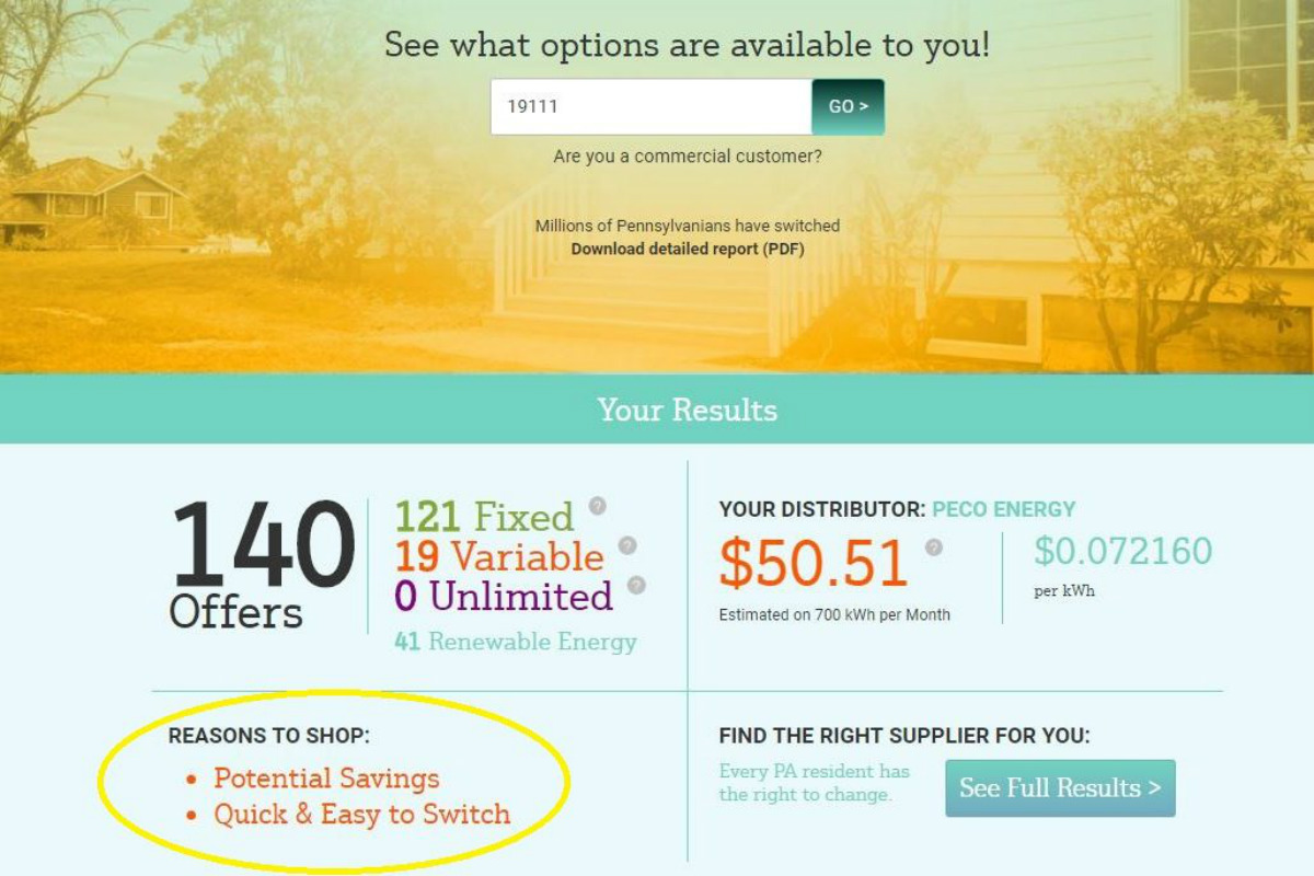 "The Public Utility Commission has revised its electricity shopping website so that it no longer promotes unrealistic consumer savings from some suppliers. The revised language, encircled in yellow, now only promotes ""potential savings."""