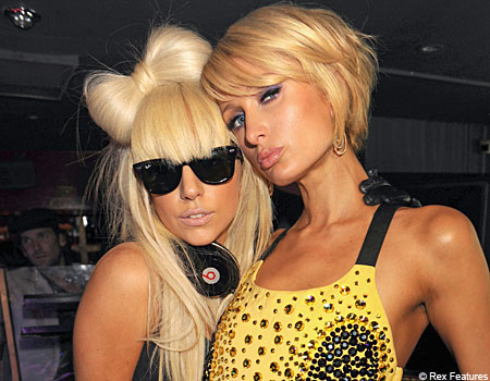 Blonde Ambition: Lady Gaga (left) and sister Sacred Heart alum Paris Hilton.