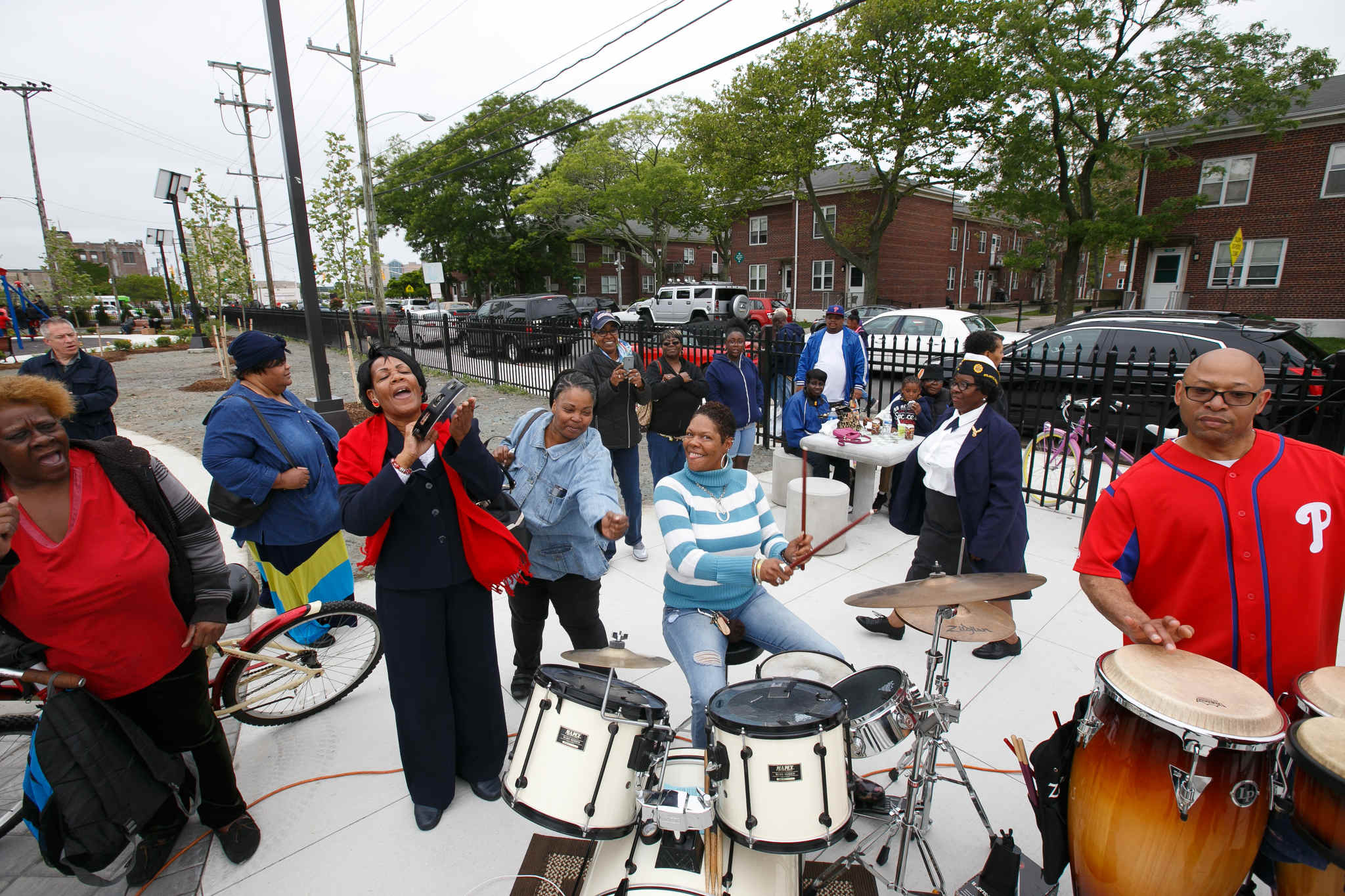Margaret Brown plays the tambourine, Tamee Jones plays the drums, and Andrew Coley II, plays the drums, at the official reopening of the Harold R. Brown Memorial Park, Monday, May 29, 2017, after a $1.5 million renovation. The park is named for the first African-American soldier from Atlantic City to die in World War II.