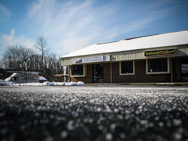 The parking lot where lawyer Eric Birnbaum was murdered in 2009, right outside his law office on Buck Road in Holland, PA. (Stephanie Aaronson/Philly.com)