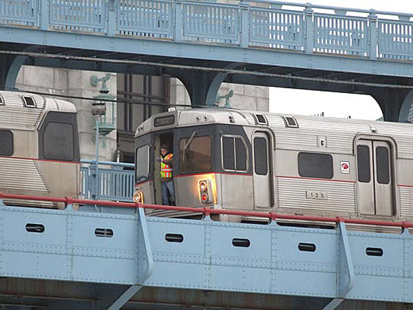 PATCO will suspend commuter rail service between Camden and Philadelphia for up to 12 hours Sunday morning for emergency track repairs on the Ben Franklin Bridge. (File photo)