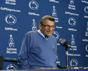 Penn State coach Joe Paterno speaks during a news conference at Beaver<br />Stadium in State College, Pa., on Tuesday, Oct. 4, 2011. (AP Photo/Genaro C. Armas)
