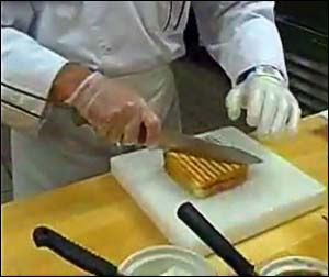 A Sodexo chef shows how to make Grilled Peanut Butter and Banana with Chocolate Chips, from one of the instructional videos.