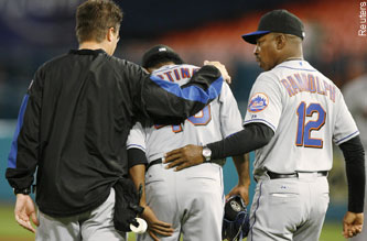 Pedro Martinez felt a pop in his hamstring last night. Could the Mets' playoff hopes be popping, too?