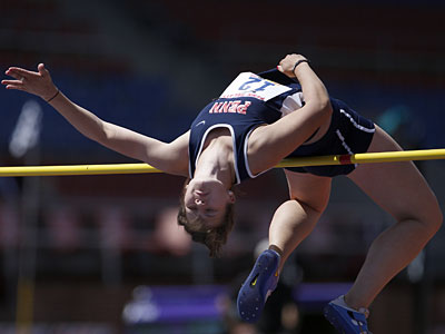 University of Penn´s Morgan Wheeler competes in High Jump event during the College Women´s Heptathlon at the Penn Relays at Franklin Field in Philadelphia, Pa., on April 20, 2010. ( David Maialetti / Staff Photographer )