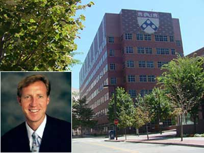 J. Larry Jameson (inset) has been named dean of Penn´s medical school.  Shown is the Clinical Research Building School of Medicine (University of Pennsylvania)