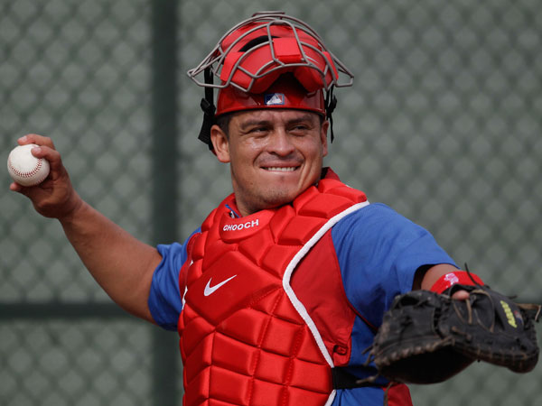 In this Feb. 19, 2012 file photo, Philadelphia Philllies´ catcher Carlos Ruiz, from Panama, attends spring training in Clearwater, Fla. (AP Photo/Matt Slocum, File)