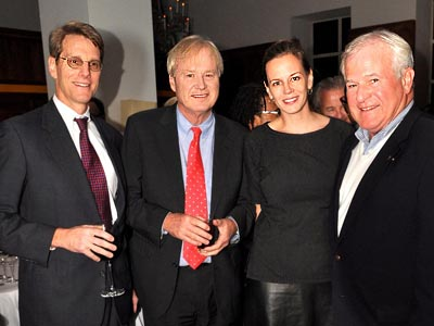 John B. Kelly, Chris Matthews, Alexandra Golaszew and another gentleman celebrate Philadelphia Style Magazine´s men´s issue, that features Chris Matthews as its cover star, at Barclay Prime on Nov. 19, 2012. (Al For / Philly.com)