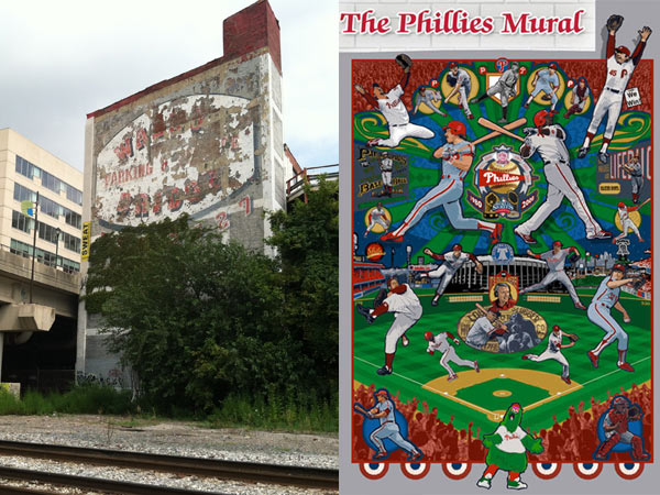 The building at 24th and Walnut Streets where the Phillies mural will be displayed, with reliever Tug McGraw leaping on the outside of the chimney. Note the railroad tracks belonging to CSX, which raised safety concerns during negotiations.
