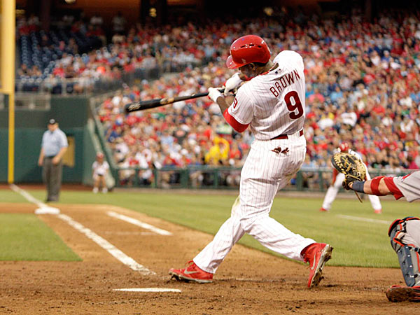 The Philadelphia Phillies´ Domonic Brown hits a solo home run in the fourth inning against the Boston Red Sox at Citizens Bank Park in Philadelphia, Pennsylvania, on Wednesday, May 29, 2013. (Elizabeth Robertson/Philadelphia Inquirer/MCT)