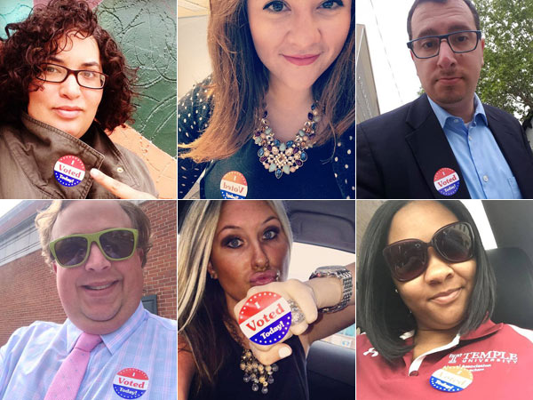 Phily.com readers (clockwise from top left) Emaleigh Doley,  Beth Cain, Jon G. Herrmann, Twitter user @phillysugamamma, Samantha, and <br />Jonathan Atwood show off their &quot;I Voted Today&quot; stickers.