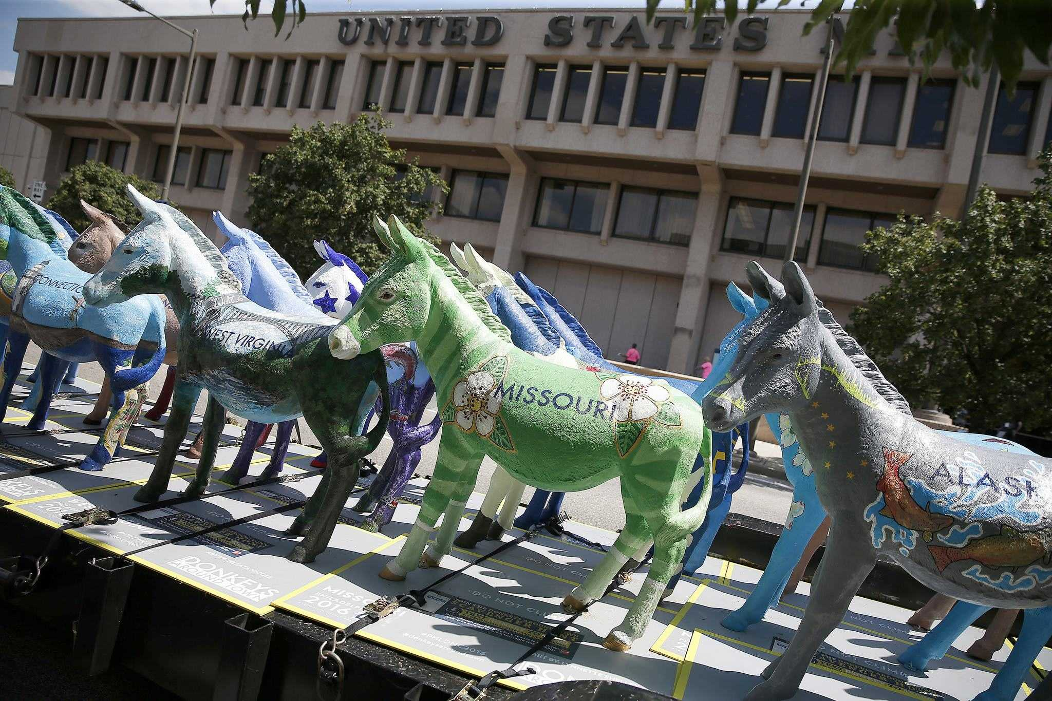 The last batch of DNC Donkeys wait to be shipped out of Philadelphia Wednesday, August 24, 2016. The fifty-seven fiberglass donkeys painted by local artists were a civic initiative of the Host Committee for the Democratic National Convention, and had been on display around the city since July 1