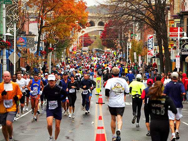 Runners in Manayunk during the 2012 Philadelphia Marathon.