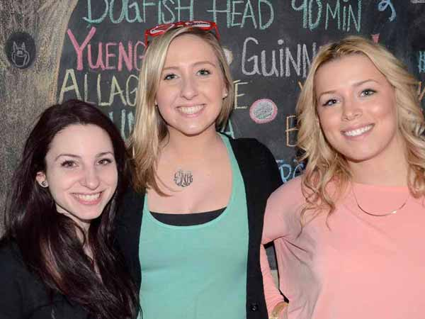 Grace Kleiman, Jasmine Neisser, and Ashley Cummiskey at the 3 Nerds Monthly party Dayload at Kings Oak at the Piazza on Sunday March 24th (HughE Dillon/Philly.com)