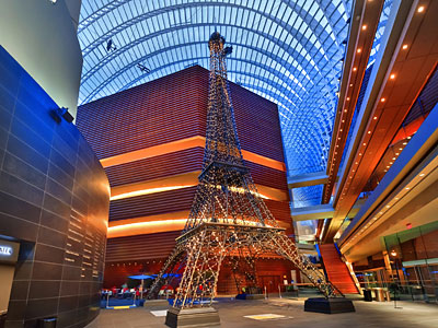 The Eiffel Tower at the Kimmel Center. A light show will be held at 7 and 9 p.m. Friday through May 1. (Rusty Kennedy)