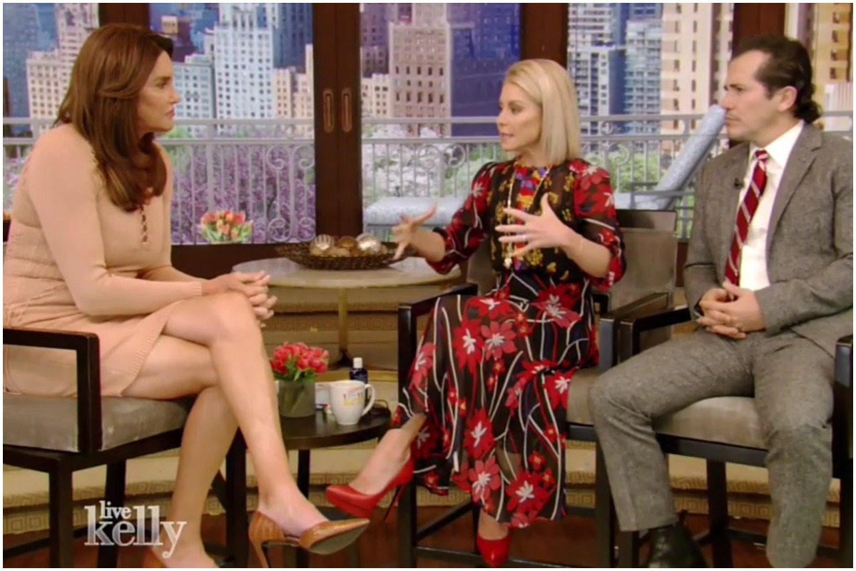 "Caitlyn Jenner (left) with ""Live with Kelly"" host Kelly Ripa and her guest co-host John Leguizamo on Tuesday, April 25."