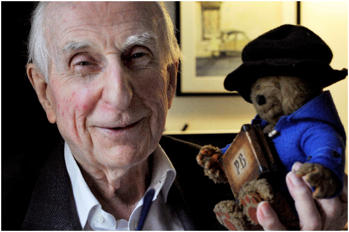 Michael Bond poses with a soft toy version of Paddington bear. Publisher HarperCollins says Bond, creator of globe-trotting teddy Paddington bear, died on Tuesday June 27, 2017, aged 91.